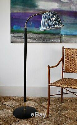 Danish Mid 20th C Black & Brass Reading Floor Standard Hall Side Table Sofa Lamp