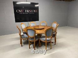 Designer Art Deco style Burr Yew tree dining room set Pro French polished