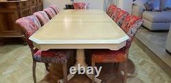 Designer Art Deco style Maple & Burr Ash dining table set Pro French Polished