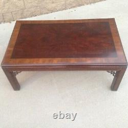 Drexel Chippendale Coffee Table Vintage Chinoisserie Burl Top