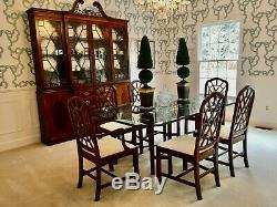 Drexel Heritage Chippendale Mahogany Dining Table + 6 Chairs with New Baker Fabric