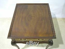 Drexel Heritage Chippendale Style End Table Mahogany & Burl Wood Veneers