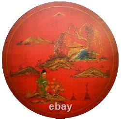 Early 20th C Chinoiserie Red Lacquered, Hand Painted Chippendale Tilt-top Table