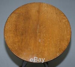 Edwardian Oak Round Tripod Lamp Wine Side Table Lovely Size And Form Versatile