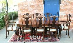 English Antique Chippendale Style Mahogany Dining Table With 3 Leaf & 8 Chairs