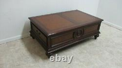 Ethan Allen Morley Coffee Serving Table Leather Top Storage Cabinet A