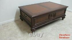 Ethan Allen Morley Coffee Serving Table Leather Top Storage Cabinet B
