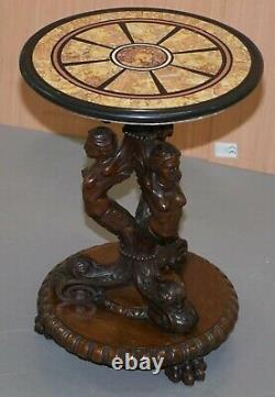 Exceptionally Fine Circa 1800 Carved Maidens Bust Side Table Grand Tour Marble