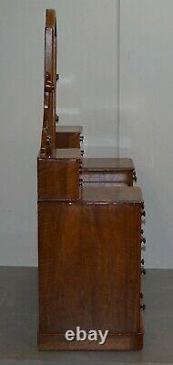 Exquisite Antique Victorian Burr Walnut Dressing Table Drawers Original Mirror
