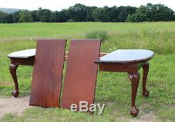 Fabulous 10pc SOLID MAHOGANY Chippendale DINING ROOM SET Table 6 Chairs c1900