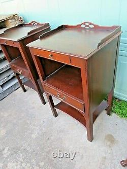 Finest Pair of Oxford Mahogany Chippendale Tables From Kindel Estimated 1940s