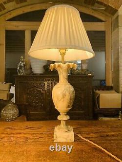 French Antique Carved Solid Marble Table Lamp, Classical Revival, Early 20thC