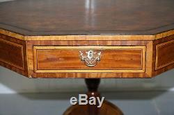 Fully Stamped Regency Circa 1820 Octagonal Drum Center Table Brown Leather Top
