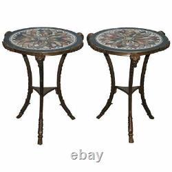 Giacomo Raffaelli Pietra Dura Louis XVI Bronze Gueridon Specimen Marble Tables