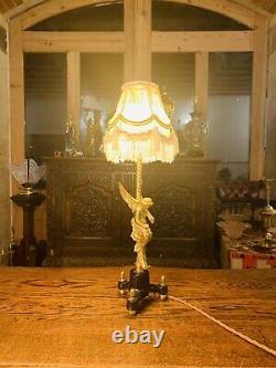 Gilded Brass Angel Table Lamp, Antique Cherub