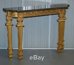 Giltwood Pier Mirror & Quad Pedestal Leg Marble Topped Table After Robert Adam