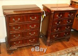 Gorgeous Pair Chippendale Mahogany Bracket Foot Night Stands Tables Bronze MINT
