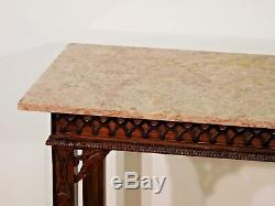 HENREDON Aston Court Mahogany Chinese Chippendale Marble Top Console Table