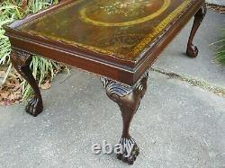 Hand Painted Antique Chippendale Coffee Table Shabby