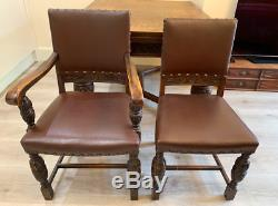 Harrods English Hand Carved Oak Dining Table And Chairs 1940's Ww2 Chippendale