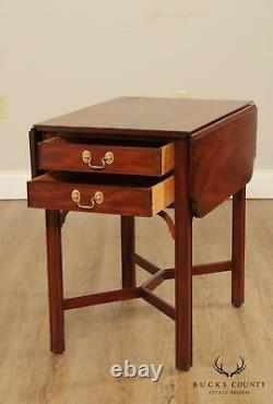 Henkel Harris Chippendale Style Pair of Mahogany Drop Leaf Pembroke Tables