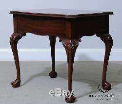 Henkel Harris Mahogany Chippendale Ball and Claw One Drawer Side Table