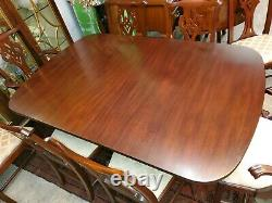 Henkel Harris Mahogany Dining Table with 8 Chairs Chippendale 3 leaves