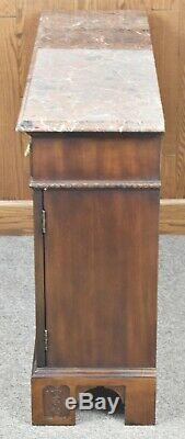 Henredon Marbel Top Mahogany Chippendale Server Console Table Williamsburg Style
