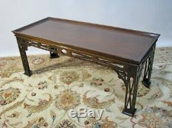 High-End Custom Chinese Inlaid Chippendale Style Mahogany Coffee Table