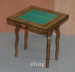 Highly Collectable Circa 1910 Syrian Damascus Inlaid Backgammon Card Table
