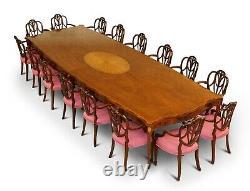 Huge Sheraton Revival Mahogany & Walnut Dining Table & 16 Hepplewhite Armchairs