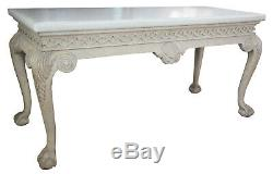 Irish Chippendale 61 Console Sofa Table Ball & Claw Scalloped Modern Chic White