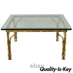 Italian Gold Gilt Iron & Glass Faux Bamboo Square Coffee Table Hollywood Regency