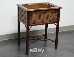 KINDEL Chinese Chippendale Mahogany Caned Plant Stand