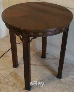 Kindel Chinese Chippendale Style Mahogany Round Occasional Table Accent Table