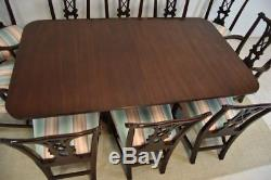 Kindel Mahogany Double Pedestal Chippendale Dining Table Brass Toe Caps 126