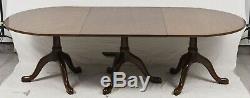 Kittinger Williamsburg Mahogany Triple Pedestal Dining Table CW 65/66 W 2 Leaves