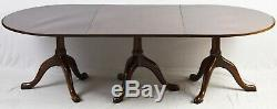 Kittinger Williamsburg Mahogany Triple Pedestal Dining Table CW 65 & CW 66