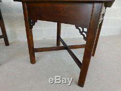 Knob Creek Chippendale Style Mahogany & Burl Walnut End Tables