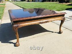 Lane Clawfoot Mahogany Coffee Table Square Claw & Ball Queens Anne Legs