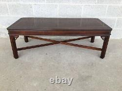 Lane Furniture Banded Mahogany Chippendale Style Coffee Table