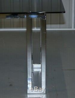 Large 8 -10 Person MID Century Modern Pieff Mandarin Chrome Glass Dining Table
