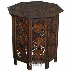 Large Hand Carved Burmese Rosewood Antique Octagonal Side End Lamp Wine Table