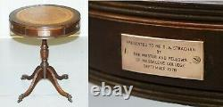 Leather Topped Three Drawer Regency Style Drum Side End Lamp Table Bronze Plaque