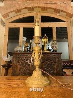 Louis XVI Style Gilt Bronze Candlestick Table Lamp, Circa 1850 Rococo