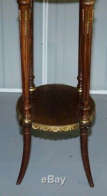 Lovely Antique French Marble Topped With Brass Gallery Rail Lamp Wine Side Table