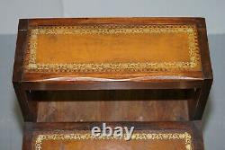 Lovely Edwardian Brown Leather Metamorphic Library Ladder Steps Coffee Table