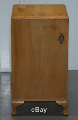 Lovely Light Walnut Bedroom Side Table 1960's With Single Drawer And Shelf