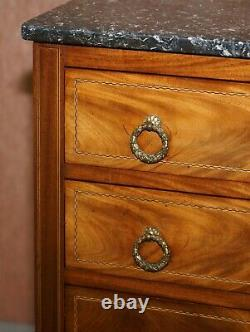 Lovely Neoclassical Cuban Mahogany Marble Topped Side Tables Chest Of Drawers