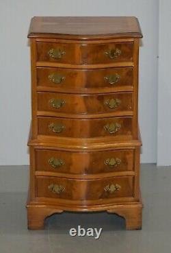 Lovely Pair Of Burr Yew Wood Small Sized Tallboy Chests Of Drawers Lamp Tables